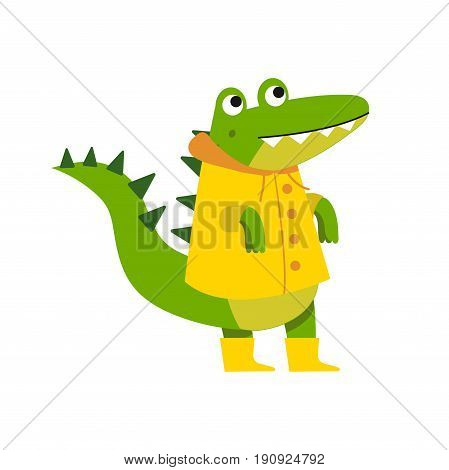 Cute cartoon crocodile character walking wearing yellow raincoat and rubber boots vector Illustration isolated on a white background
