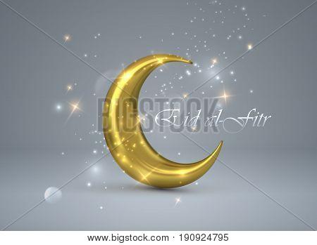 Eid al-Fitr. Vector islamic religious illustration of Eid al-Fitr label and golden crescent moon. Muslim Feast of Breaking the Fast postcard design