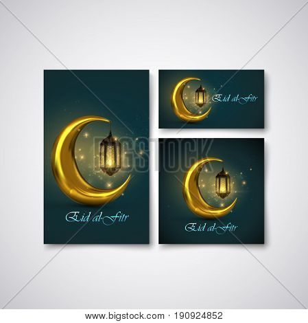 Eid al Fitr. Vector islamic religious stationery design with Eid al-Fitr label and crescent golden moon with glowing arabic lantern. Muslim Feast of Breaking the Fast poster, flyer, cover design