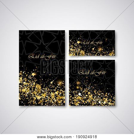 Eid al Fitr. Vector islamic religious illustration of stationery with glowing stars and glitters and arabic pattern. Muslim Feast of Breaking the Fast postcard, flyer, cover design