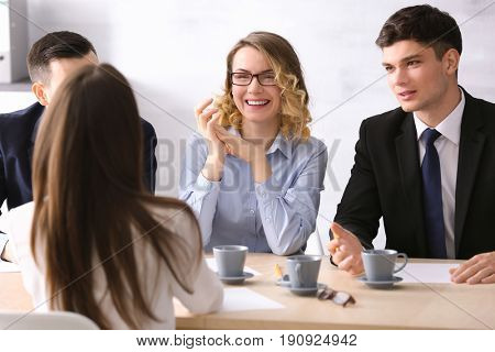 Human resources commission interviewing woman