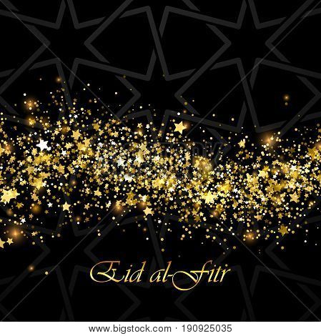 Eid al-Fitr. Vector islamic religious illustration of Eid al-Fitr label and glowing wave of particles and flitters with arabic pattern. Muslim Feast of Breaking the Fast postcard design
