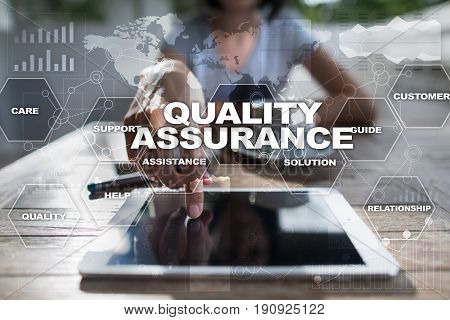 Quality assurance on virtual screen. Business concept.
