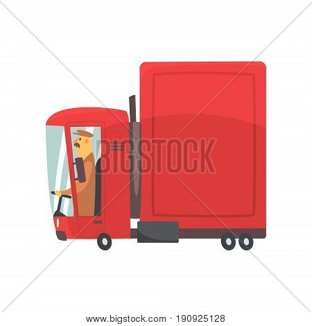 Red cartoon semi truck, cargo transport vector Illustration isolated on a white background