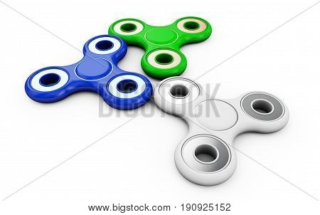 Hand Spinners (another name: Finger Spinners or Fidget Spinners) . 3D illustration on isolated white background. Set: red yellow and blue color.