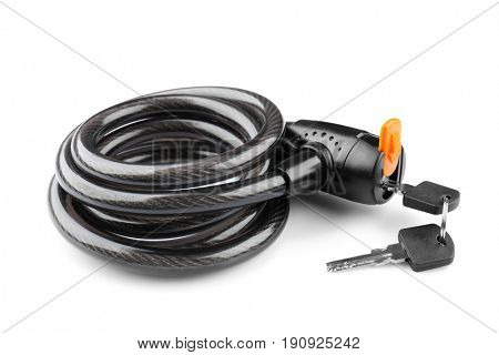 Bicycle lock on white background