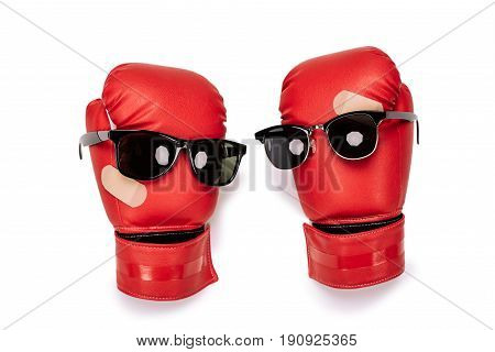 Pair Of Red Boxing Gloves In Sunglasses Making Smiley Composition Isolated On White