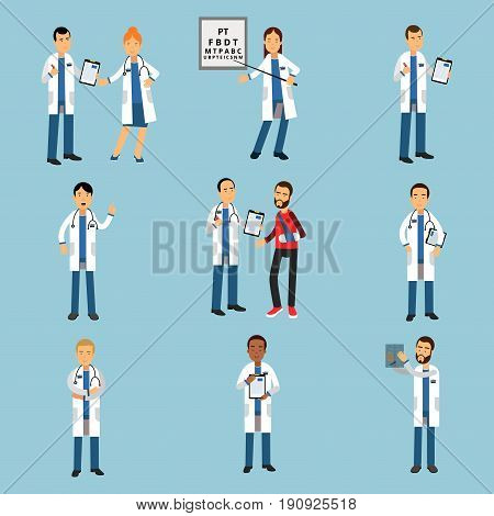 Practitioner young doctors set, hospital medical staff detailed colorful Illustrations on a light blue background