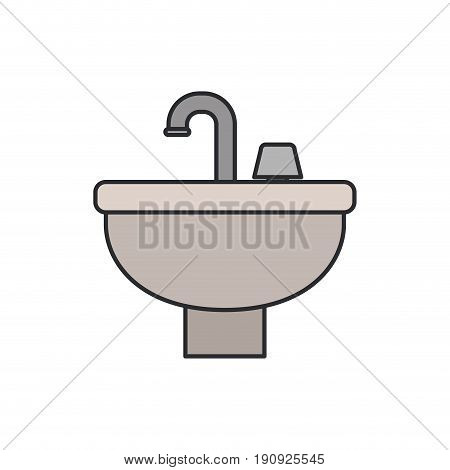 white background with color silhouette of washbasin icon with thin contour vector illustration