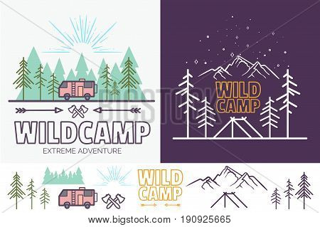 Forest camp linear illustration with tent, mountains, trees, cloud, sun. Camping travel tourism creative graphic concept for your design, .Vintage monochrome and color style. isolated.