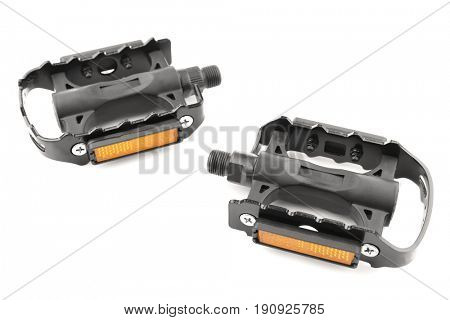 Bicycle pedals on white background