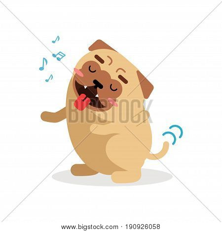Cute cartoon pug dog character wagging tail and singing vector Illustration isolated on a white background