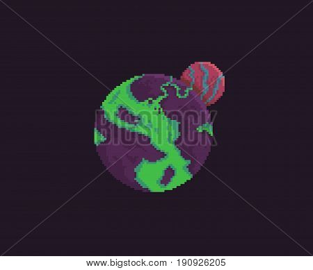 Pixel art alien purple planet with acid waters and red satellite, isolated on dark background