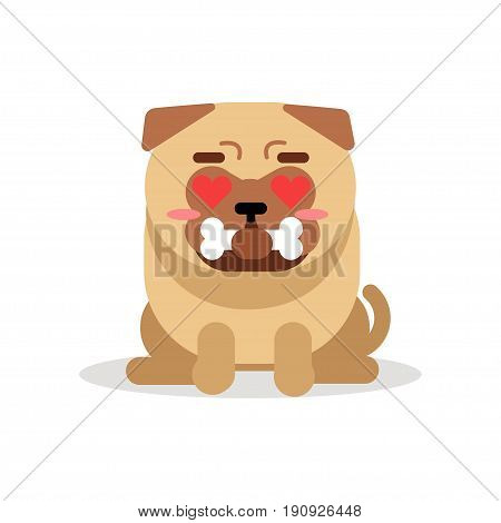 Funny pug dog character sitting and holding bone in its mouth vector Illustration isolated on a white background