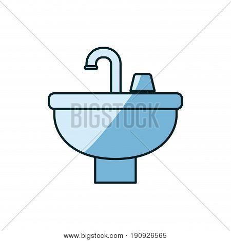 blue shading silhouette of washbasin icon vector illustration