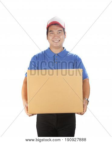 portrait of asian delivery man holding container box smiling face good service mind isolated white background