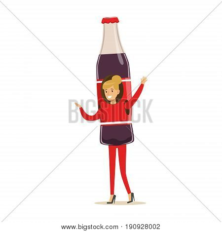 Cheerful woman wearing soda drink bottle costume, puppets food vector Illustration isolated on a white background