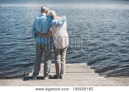 Back View Of Senior Couple Embracing While Standing On Riverside At Daytime