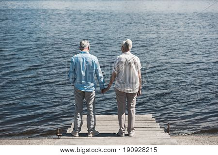 Back View Of Senior Couple Standing And Holding Hands On Riverside At Daytime
