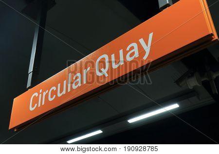 SYDNEY AUSTRALIA - MAY 31, 2017: Circular Quay train station sign.