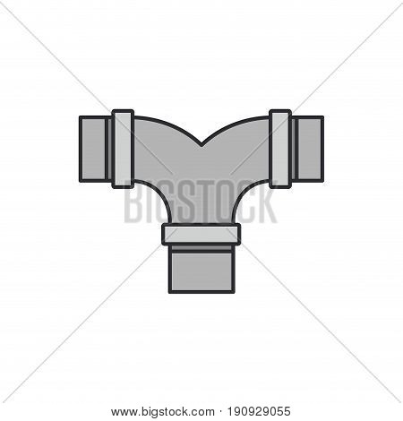 white background with color silhouette of drain pipe t connection with thin contour vector illustration