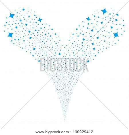 Sparcle Star fireworks stream. Vector illustration style is flat blue iconic sparcle star symbols on a white background. Object fountain constructed from random icons.