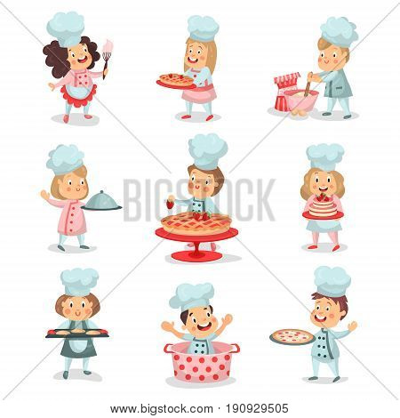 Set of little cook chief kids cartoon characters cooking food and baking detailed colorful Illustrations isolated on white background