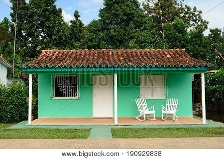 House of the resident of the Vinales village on Cuba. Valle de Vinales Cuba Pinar del Rio province