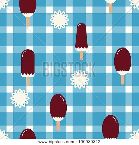 Summer mood pattern with sweet ice cream and show-flakes. Texture with cold desserts ice cream fudge sundae