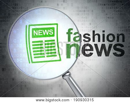 News concept: magnifying optical glass with Newspaper icon and Fashion News word on digital background, 3D rendering