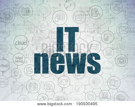 News concept: Painted blue text IT News on Digital Data Paper background with  Scheme Of Hand Drawn News Icons
