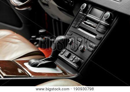 Change-gear lever in modern car salon