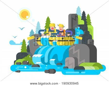 Water river slalom rafting. Adventure sport, action extreme, boat on wave, team group outdoor raft, vector illustration
