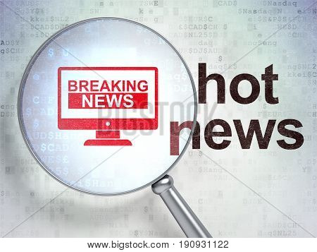News concept: magnifying optical glass with Breaking News On Screen icon and Hot News word on digital background, 3D rendering