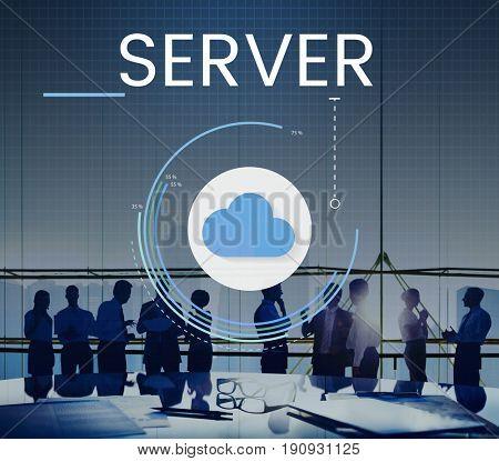 Cloud Network Online Storage Database Server Graphic
