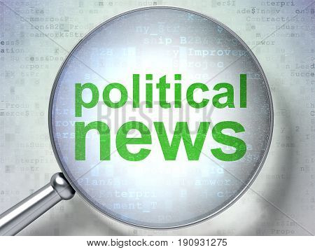 News concept: magnifying optical glass with words Political News on digital background, 3D rendering