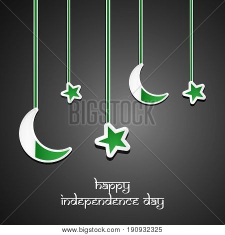 illustration of handing stars and moon in dark black background with Happy Independence Day text on the occasion of Pakistan Independence day