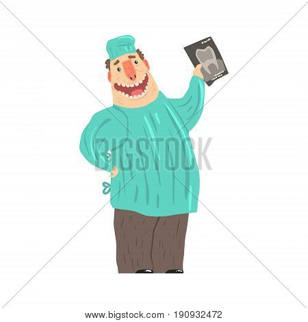 Cartoon smiling dentist character holding xray picture vector Illustration isolated on a white background