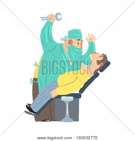 Cartoon scary dentist character with male patient at clinic vector Illustration isolated on a white background