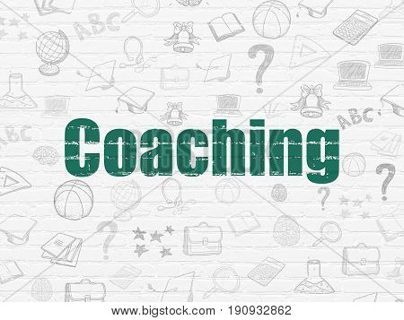 Education concept: Painted green text Coaching on White Brick wall background with  Hand Drawn Education Icons