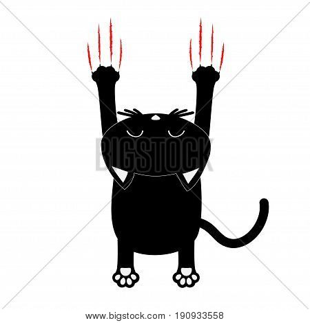 Cartoon black cat. Back view. Red bloody claws animal scratch scrape track. Cute funny character with face. White background. Isolated. Flat design. Vector illustration
