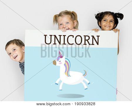 Children holding billboard network graphic overlay