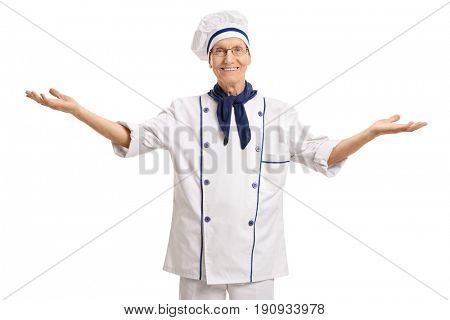 Mature chef gesturing with his hands isolated on white background