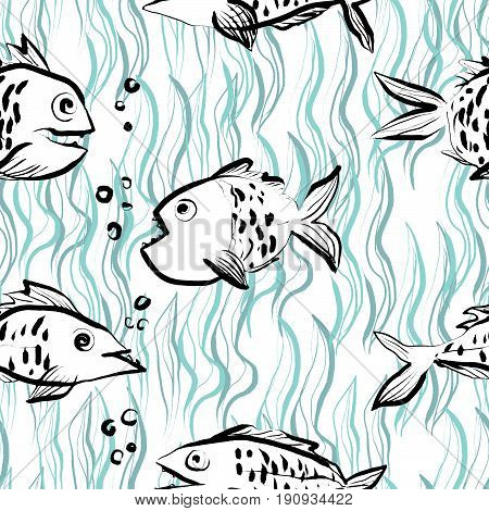Ink hand drawn seamless pattern with funny fishes on abstract river background