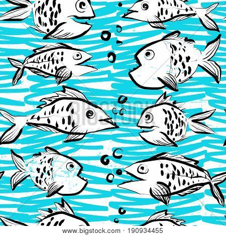 Ink hand drawn seamless pattern with funny fishes on abstract sea background
