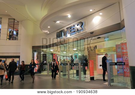 SYDNEY AUSTRALIA - JUNE 1, 2017: Unidentified people visit Myer department store. Myer is an Australian's largest department store chain targeting mid-to-up market.
