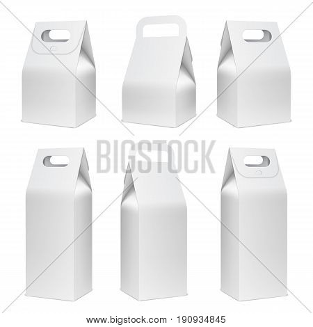 Cardboard food boxes isolated on white background. Blank white package mock up or template