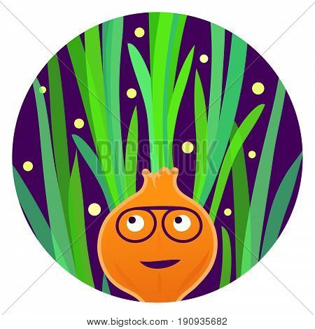 Onion Soul. Funny onion character with afro hairstyle.