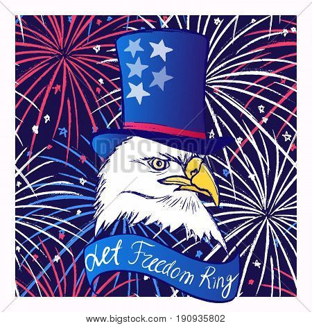 Ink hand drawn vector background with eagle in tall hat on fireworks background 4th of July Independence day