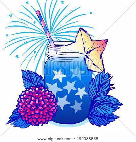 Ink hand drawn vector card July 4th Independence day party/Cocktail drink among flowers